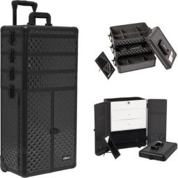 Sunrise I3366DMAB Black Diamond Professional Makeup Case French Door Opening with Large Drawers
