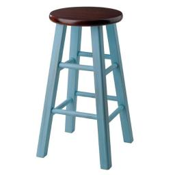 Winsome 65230 Ivy 29 in. Bar Stool, Walnut & Light Blue