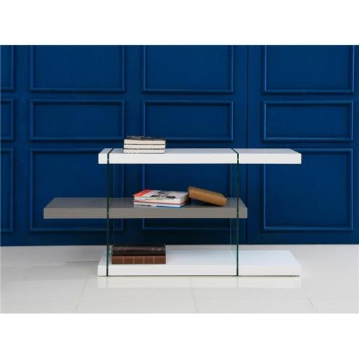 Casabianca Furniture CB-111-WG-RTN Il Vetro Glass Bookcase, White & Gray Lacquer - 29 x 55 x 13 in.