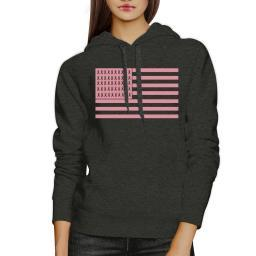 Pink Flag Breast Cancer Hoody Charcoal Grey Graphic Pullover Fleece