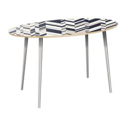 NyeKoncept 12019263 28.75 x 28 x 48 in. Natural Ondine Flare Dining Table - Modern Slice, Chrome