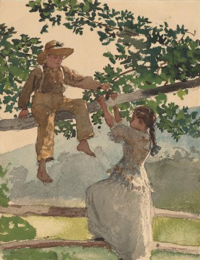 On The Fence, By Winslow Homer, 1878, American Painting, Watercolor, Graphite On Paper. Boy Sits On A Tree Limb As A Girl Reaches Up From A Wooden.