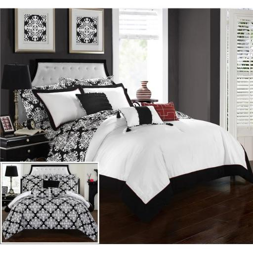 Chic Home CS2175-US Olympia Reversible Medallion Printed Plush Hotel Collection Bed in a Bag Comforter Set with Sheets - Black & White - King - 10 Pie