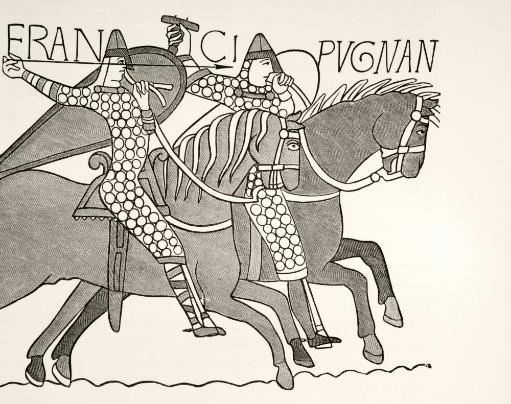 Fragment Of The Bayeux Tapestry Showing Two Mounted, Armoured Knights Of William The Conquerors Army In Combat During The Battle Of Hastings. From.