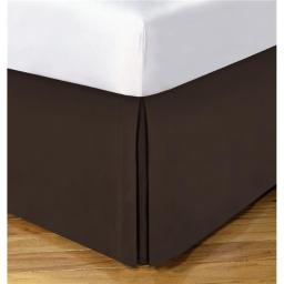 Lux Hotel FRE23614CHOC02 14 in. Basic Microfiber Bedskirt, Chocolate - Full