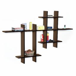Light Coffee-MEGALeather Cross Type Shelf / Bookshelf / Floating Shelf (9 pcs)