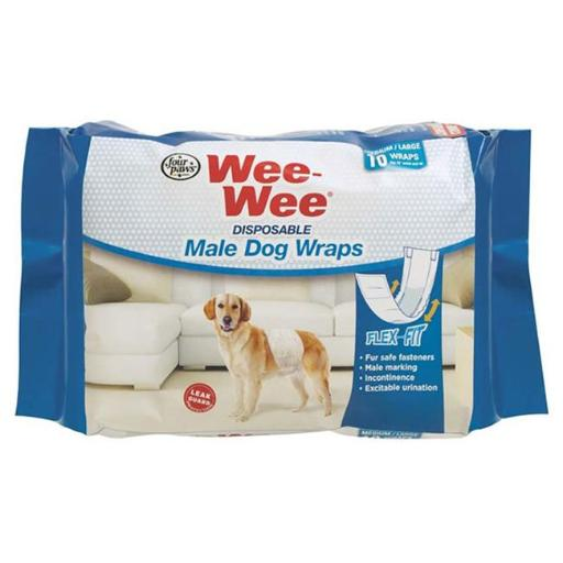 Central - Four Paws Products FP97227 Wee Wee Display Male Wrap, Medium Large - 12 Count
