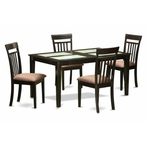 East West Furniture CAP5G-CAP-C 5 Piece Dining Room Table Set- Glass Top Table and 4 Dining Chairs