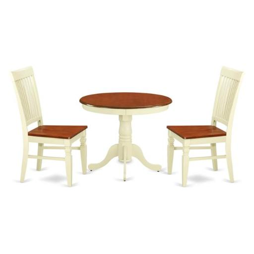 East West Furniture ANWE3-BMK-W Kitchen Table Set with a Kitchen Table & 2 Wood Seat Kitchen Chairs, 3 piece - Buttermilk & Cherry