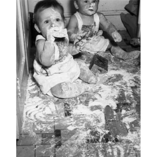 Posterazzi SAL255657 Two Babies Sitting on the Floor Covered in Flour Poster Print - 18 x 24 in.