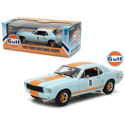 Greenlight 12989 1-18 1967 Ford Mustang Coupe Gulf Oil No. 8 Diecast Model Car