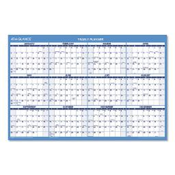 Horizontal Erasable Wall Planner 36 X 24 Blue/White Ry Red/White Ay 2020-2021   Total Quantity: 1