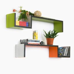 Grass Green & Orange S-Shaped Leather Wall Shelf / Floating Shelf (Set of 2)