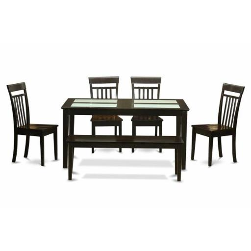 East West Furniture CAP6G-CAP-W 6 Piece Dining Room Set With Bench-Glass Top Table and 4 Dining Chairs and Bench