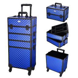 4in1 Aluminum Makeup Train Case Rolling Trolley Cosmetic Hairdressing Organizer