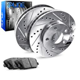 Rear eLine Drilled Slotted Brake Rotors & Ceramic Brake Pads REC.75010.02