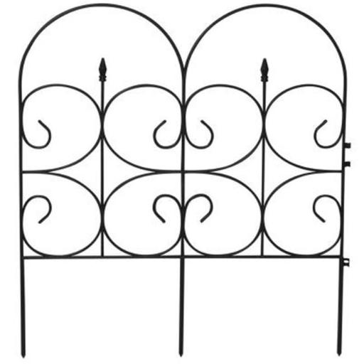 Victorian Black Resin Fleur De Lis Large Fence Garden Fencing, 14 ft.