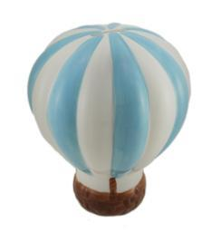 Baby Blue and White Hot Air Balloon Ceramic Coin Bank