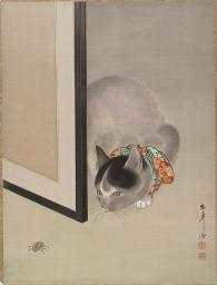"""Cat Watching a Spider Poster Print by Oide Toko (Japanese, 1841  """"1905) (18 x 24)"""