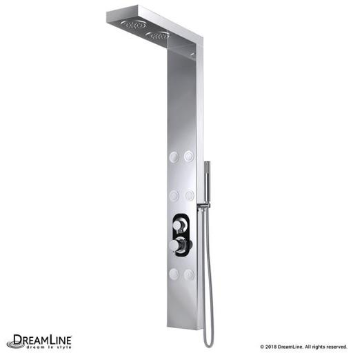 Dreamline SHCM-3168 59.5 H in. Albion Shower Panel System with 2 Overhead Shower Heads, 6 Body Jets & Handshower Wand