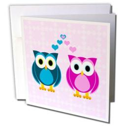 3dRose True Love Owls Design - Greeting Cards, 6 x 6 inches, set of 12 (gc_6154_2)