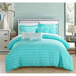 Chic Home Hadassah 6 Piece Comforter Set Striped Ruched Ruffled Bedding - Decorative Pillows Shams Included, Queen, Blue