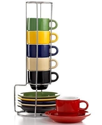 7e7d65f0908 Espresso Cups Set - Coffee cup set with metal rack Stackable Coffee mug set  Turkish Coffee