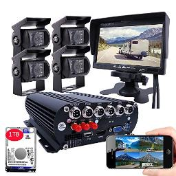 Joinlgo 4Ch 4G Gps Wifi 1080P Ahd Mobile Vehicle Car Dvr Security Camera System With 1Tb Hard Drive 4Pcs 20Mp Car Cameras With Night Vision, Weatherproof, Motion Detection, Remote Monitor For Truck