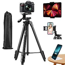 Lusweimi 60Inch Tripod For Ipad Iphone, Camera Tripod For Phone With 2 In 1 Tripod Mount Holder For Cell Phonetabletwebcamgoproall Cameras, Tripod With Carry Bag For Travelphotographyvideo