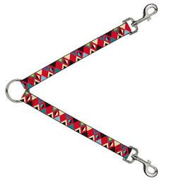 Dog Leash Splitter Geometric9 Black Red Turquoise Ivory 1 Foot Long 1 Inch Wide