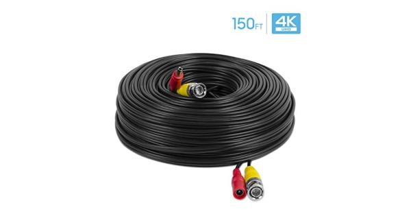 Amcrest 4K Security Camera Cable 150FT BNC Cable Camera Wire CCTV Pre-Made All-in-One Video and Power Cable for Security Camera HDCVI HDTVI Camera... Amcrest 4K Security Camera Cable 150FT BNC Cable Camera Wire CCTV Pre-Made All-in-One Video and Power Cable for Security Camera HDCVI HDTVI Camera Analog DVR (SCABLE4K150B-PP)