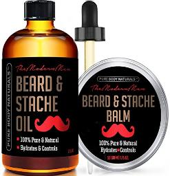 Beard Oil and Beard Balm Kit for Mustache and Beard Care - Tame, Condition and Moisturize with this Premium Grooming Set by Pure Body Naturals, Oil 2 fluid ounces & Balm