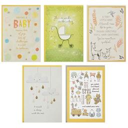 Hallmark Baby Events Card Assortment, Adoption Congratulations/Baby Shower/Adoption Support/Welcome Baby/Baby's First Year Support (5 cards with Envelopes)