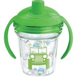 Tervis 1269537 J is for Jeep Brand Pattern Sippy Tumbler with Wrap and Rainforest Green Lid 6oz My First Tervis Sippy Cup, Clear