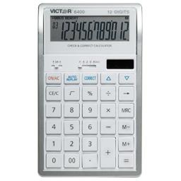 Victor 6400 12-Digit Professional Desktop Calculator with Auto Replay & Check and Correct, Battery and Solar Hybrid Powered LCD Display, Great for Students and Professionals, White