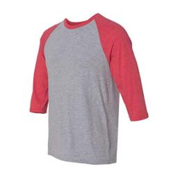 Anvil Adult Tri-Blend 3/4-Sleeve Raglan T-Shirt, HeatherGry/Hthr Red, Small