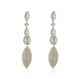 2.00 Ct Pear Cut Marquise Drop Earring in 18K Gold Plated with