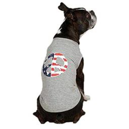 Casual Canine ZM3072 24 11 Americana Peace Flag Tank for Dogs, X-Large, Gray