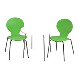 Gift Mark Modern Childrens Table and 2 Chair Set with Chrome Legs (Green Color Chairs)