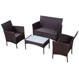 4 pcs Outdoor Patio Rattan Wicker Cushioned Sofa Table