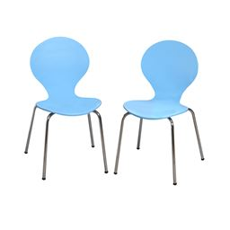 Gift Mark Modern Childrens 2 Chair Set with Chrome Legs - Blue Color