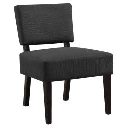 Offex Contemporary Accent Chair with Solid Wood Black Frame - Dark Grey