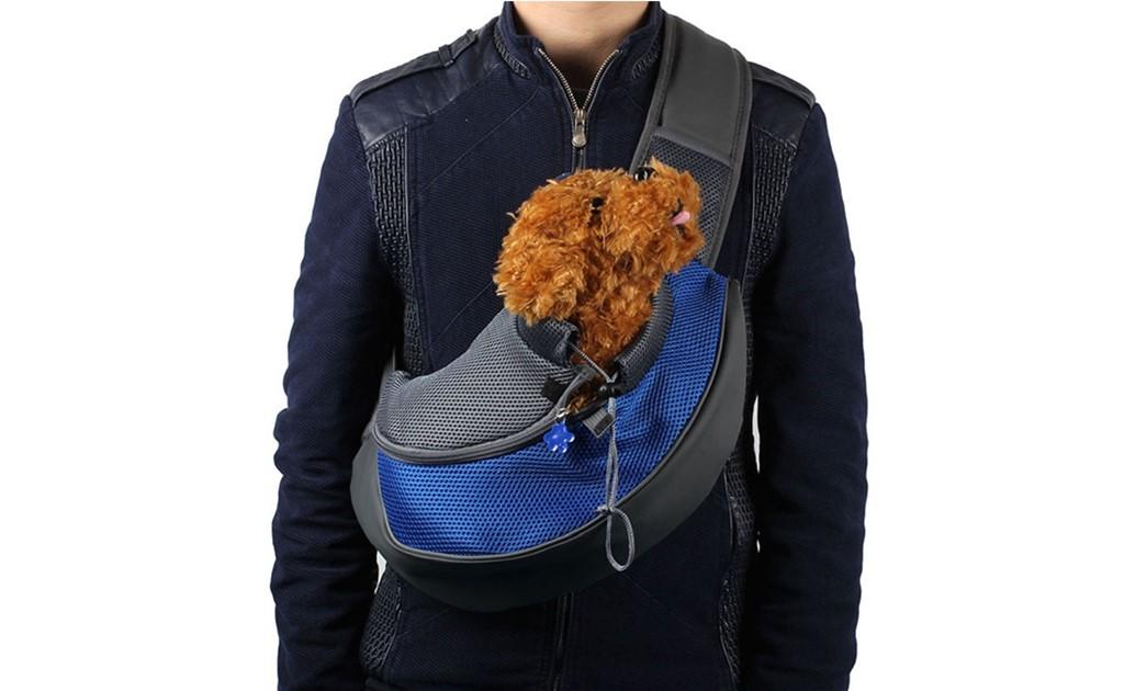 Pet Dog Cat Puppy Carrier Mesh Travel Tote Shoulder Bag Sling Backpack-Small-Blue