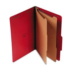 Universal Pressboard Classification Folders, Legal, 6-Section, Ruby Red, 10/Box (1)