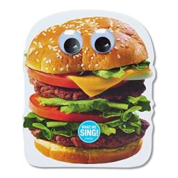 American Greetings Funny Hamburger Die-Cut Birthday Greeting Card with Music and Googly Eyes