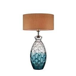 Table Lamp with Hand blown glass pattern and Bottle Base, Silver and Blue