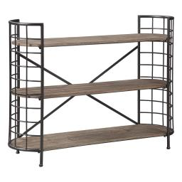 Wood and Metal Bookcase with 3 Open Shelves, Brown and Black