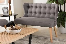 Baxton Studio Melody Mid-Century Modern Grey Fabric and Natural Wood Finishing 2-Seater Settee Bench