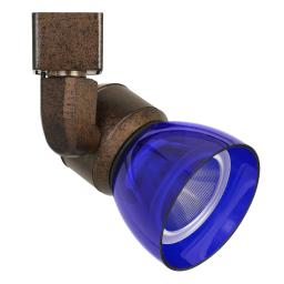 10W Integrated LED Track Fixture with Polycarbonate Head, Bronze and Blue