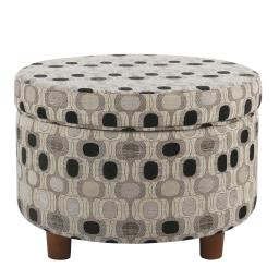 Wooden Ottoman with Geometric Patterned Fabric Upholstery and Hidden Storage, Multicolor